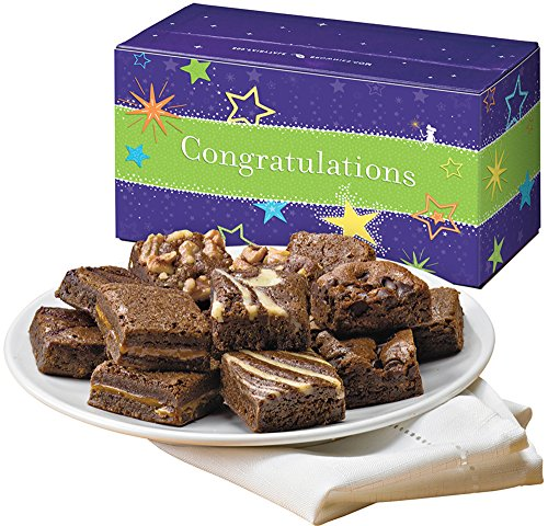 Fairytale Brownies Congratulations Magic Morsel Dozen Gourmet Food Gift Basket Chocolate Box - 1.5 Inch x 1.5 Inch Bite-Size Brownies - 12 - Cookie Baskets Congratulations