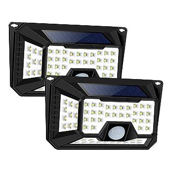 WZTO Luz Solar Exterior, Luz Solar Jardín 66 LEDS 650LM 3 Modos Sensor de Movimiento