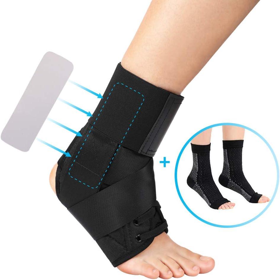 DOACT Tobilleras Deportivas Ajustable de Compresión Estabilizadora con Laterales Fijación Auxiliar para la Recuperación de Lesiones, Artritis, Tendinitis, 1 Pieza y 2 Medias de Compresión Elásticas