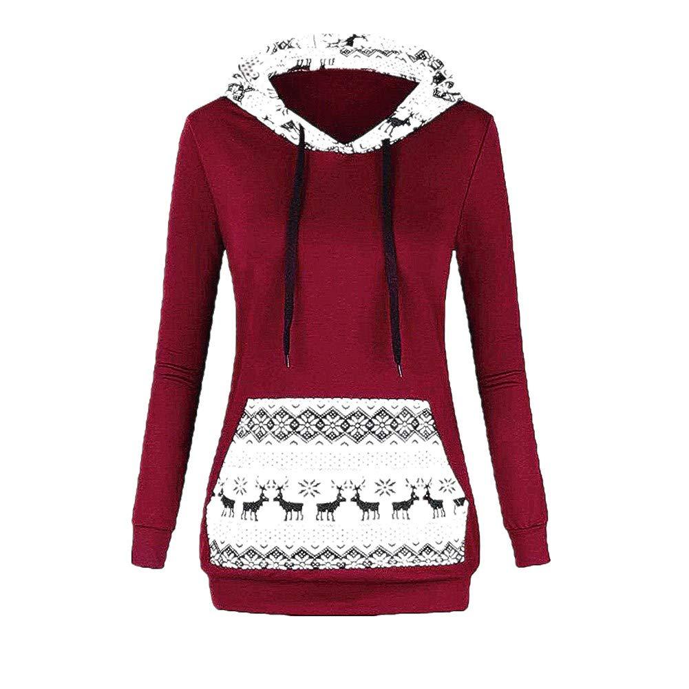 Berimaterry Damen Mode Lä ssig Frauen Patchwork Hoodie Sweatshirt Weihnachten Print Pullover Bluse