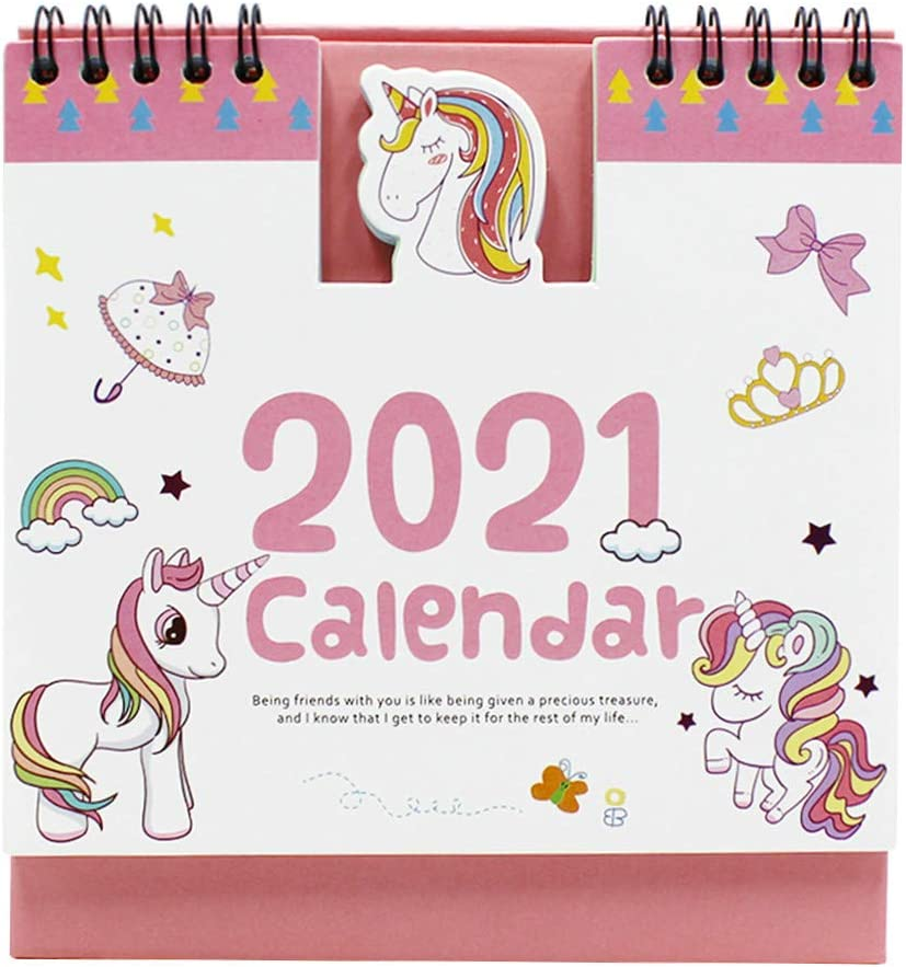 JUMISEE 2020-2021 Cute Unicorn Desk Calendar Cartoon Standing Calendar Daily Schedule Table Planner Agenda Organizer for Home Office School