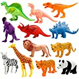 Animals Figure, 12 Piece 7'' Jungle Animals Toys Set Plastic, Dinosaur Toys, Wild Animals Learning Toys and Party Favor Toys for Boys - Forest Dinosaurs Figures Playset for Kids