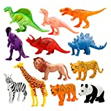 #6: Animals Figure, 12 Piece 7'' Jungle Animals Toys Set Plastic, Dinosaur Toys, Wild Animals Learning Toys and Party Favor Toys for Boys - Forest Dinosaurs Figures Playset for Kids