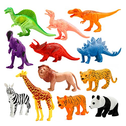 Animals Figure, 12 Piece 7'' Jungle Animals Toys Set Plastic, Dinosaur Toys, Wild Animals Learning Toys and Party Favor Toys for Boys - Forest Dinosaurs Figures Playset for Kids (Set Plastic Figure)