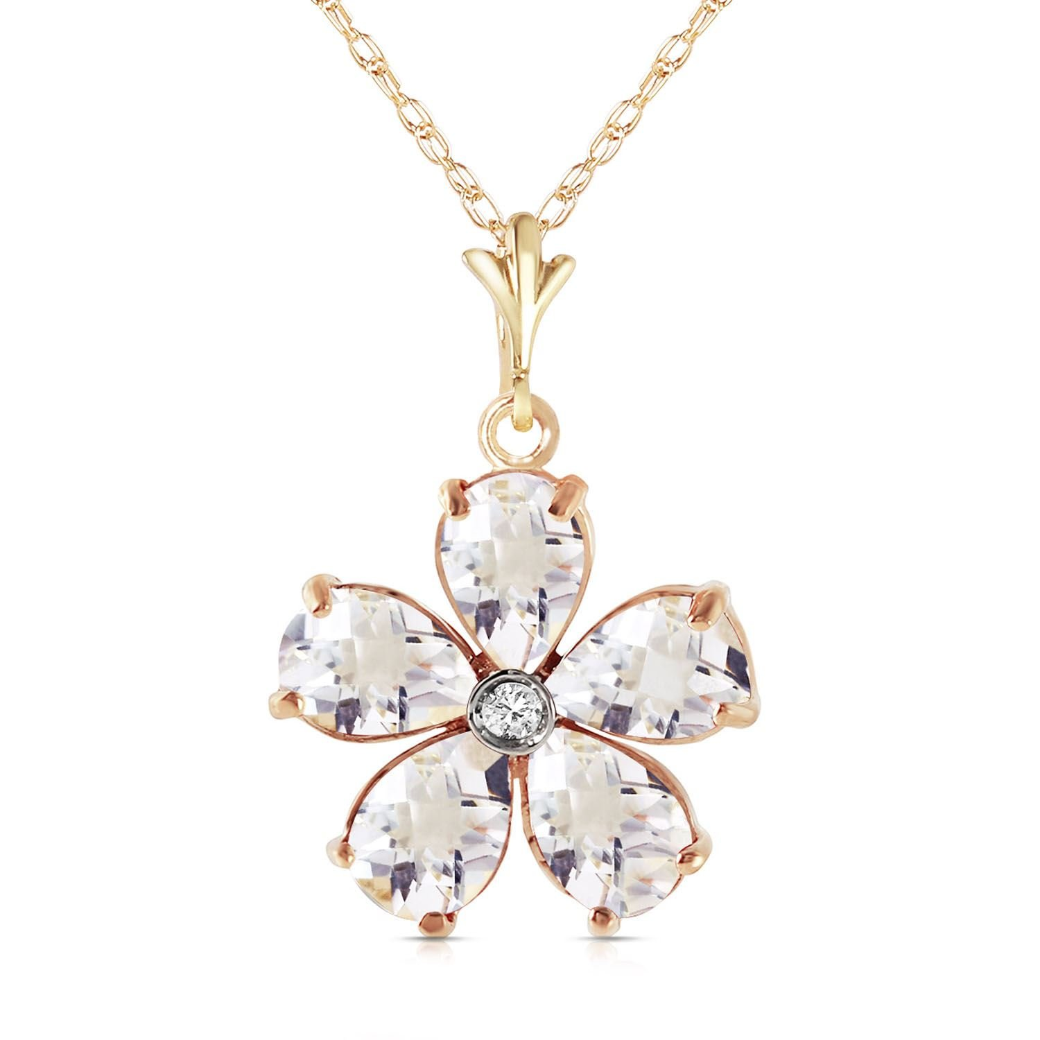 ALARRI 2.22 Carat 14K Solid Gold Heart Is Awake White Topaz Necklace with 20 Inch Chain Length