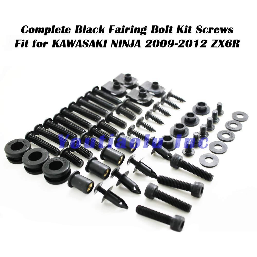 Complete Bolts Kit Screws Fasteners Hardware Fit for KAWASAKI NINJA 2009-2012 ZX6R 636 Black USA Stock 2010 2011