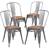 KERLAND Metal Dining Chairs Set of 4, Indoor-Outdoor chairs Distressed Style Kitchen Dining Chair with Full Back and Elm Wood Seat, Matte Silver