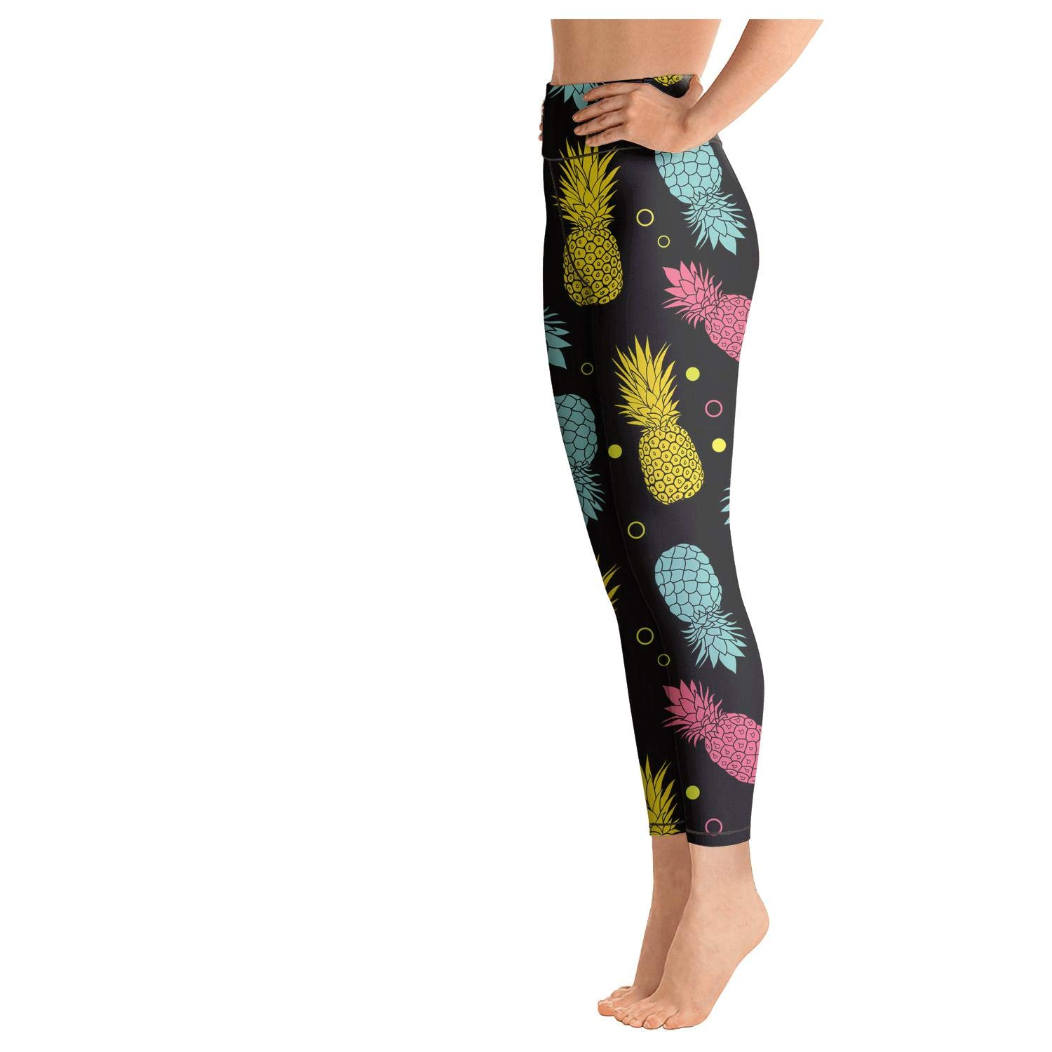 PROGIFToO Womens Workout Running Legging Black Summer Colorful Tropical Fruit Pineapple Tummy Control Yoga Pants Gym