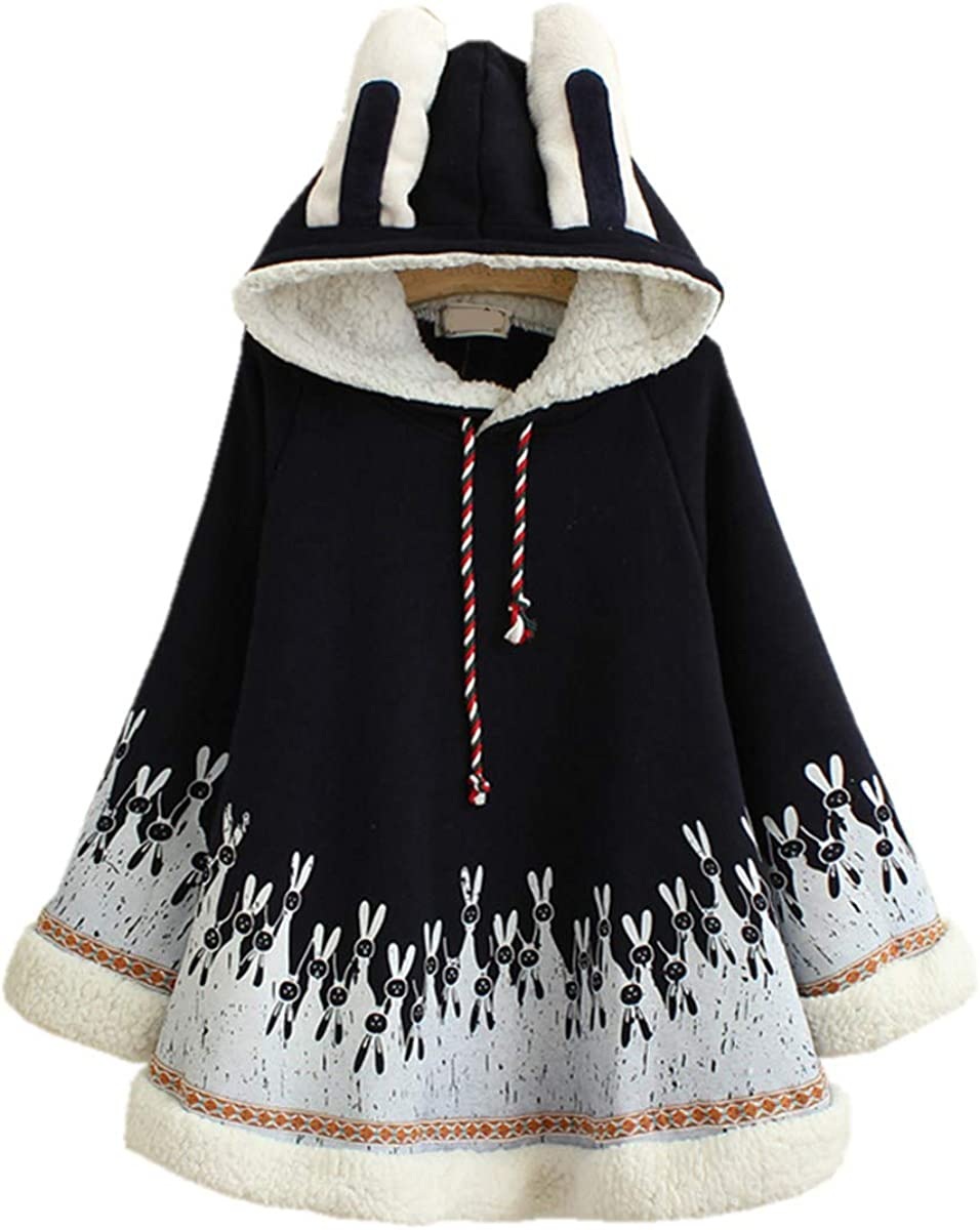 Winter Cape Hoodie Cute Bunny Cotton Hooded Girls Outerwear