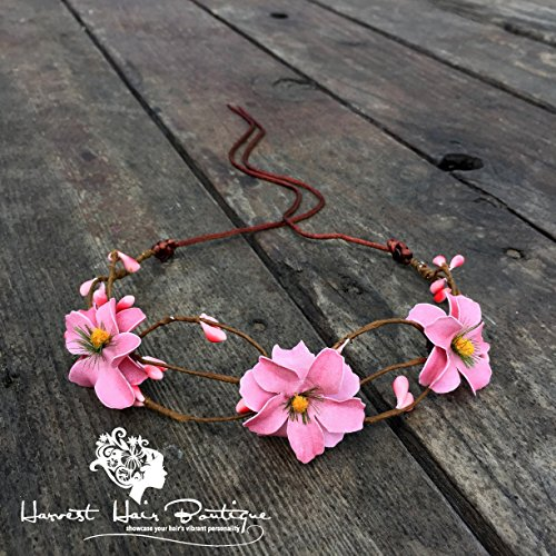 [Pink Flower Crown // Fun, feminine, boho flower crown in light pink // Feminine glam style perfect for pinup style or hippie chic] (Chic Costumes)