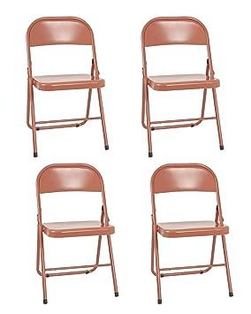 Haku Möbel Juego de 4 sillas Plegables, Tubo de Acero, Rojo ...