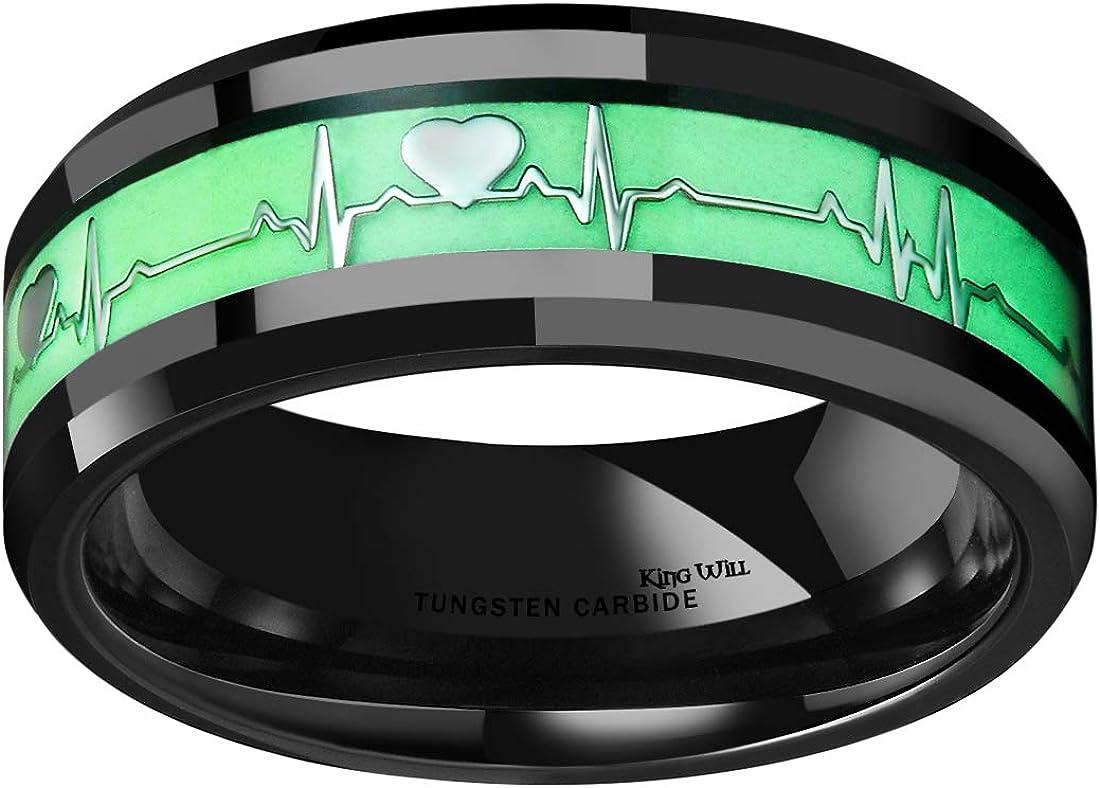 King Will Aurora 8mm Luminou Glow Tungsten Carbide Wedding Ring Celtic Dragon/Skull/Lord of Ring