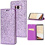 Stysen Galaxy S8 Plus Flip Case,Galaxy S8 Plus Glitter Wallet Case,Elegant Noble Stylish Purple Shiny PU Leather Bookstyle Wallet Protective Case Cover for Samsung Galaxy S8 Plus-Purple