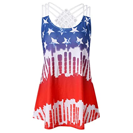552d69bf318b1 Sunshinehomely Women Ladies Tank Top American Flag Print Sleeveless Back Criss  Cross Lace Strappy Casual Tops