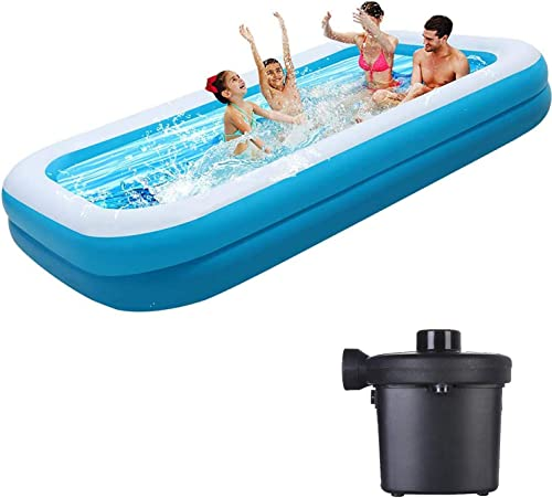 Swimming Pool Above Ground – Family Inflatable Swimming Pools 120x72x19.7in – Thickened Family Pool for Children Adults,Pvc Folding Durable Swim Center Inflatable Pool Bath Tubs Electric Pump Included