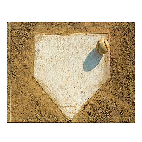 NYMB Sport Decor, Old Baseball on Home Plate Surrounded by Dirt Bath Rugs, Non-Slip Floor Entryways Outdoor Indoor Front Door Mat,60x40cm Bath Mat Bathroom Rugs -