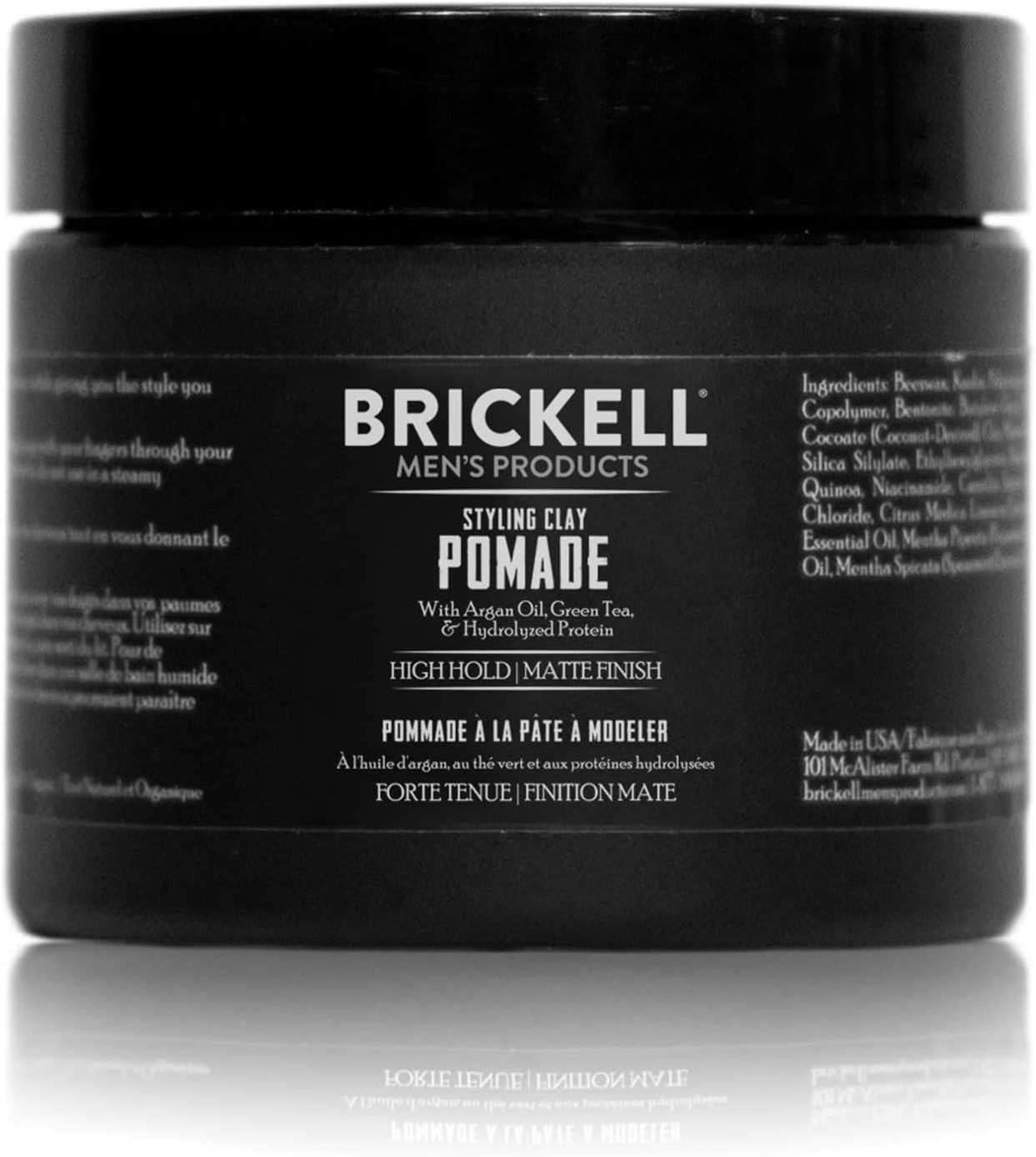 Brickell Men s Styling Clay Pomade para hombres, natural y orgánico con fijación fuerte y acabado mate, producto para peinados modernos, 2 onzas, ...
