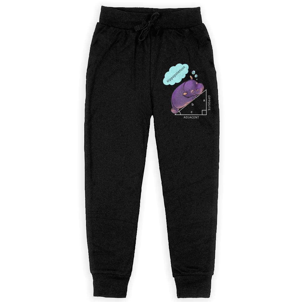 Unisex Young Math Hypotenuse Hippo Elastic Daily Sweatpants for Boys Gift with Pockets Pajamas