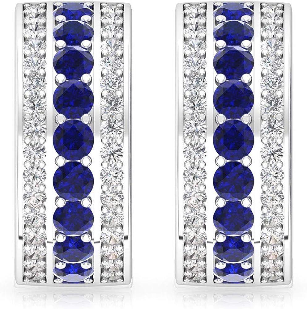 Aretes de aro con diamante certificado IGI de 0,65 ct, piedra de nacimiento de septiembre, aniversario de aniversario, tres filas, boda, boda, pequeños regalos, con clip.