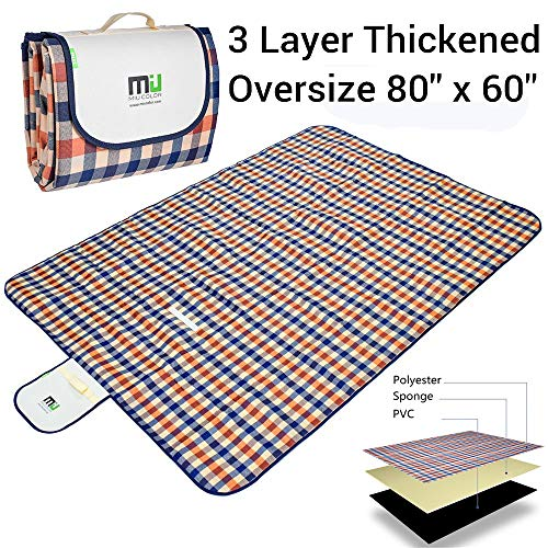 "MIU COLOR Outdoor Picnic Blanket 3 Layers Thickened Extra Large 80""x60"" Waterproof Picnic Mat Ground Cover - Multipurpose (Orange Blue)"