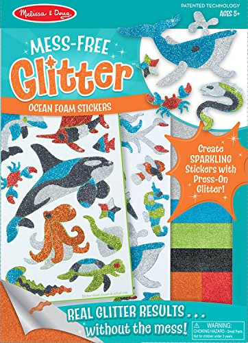 Melissa & Doug Mess-Free Glitter Ocean Foam Sticker Kit- 19 Stickers, 6 Press-On Sheets