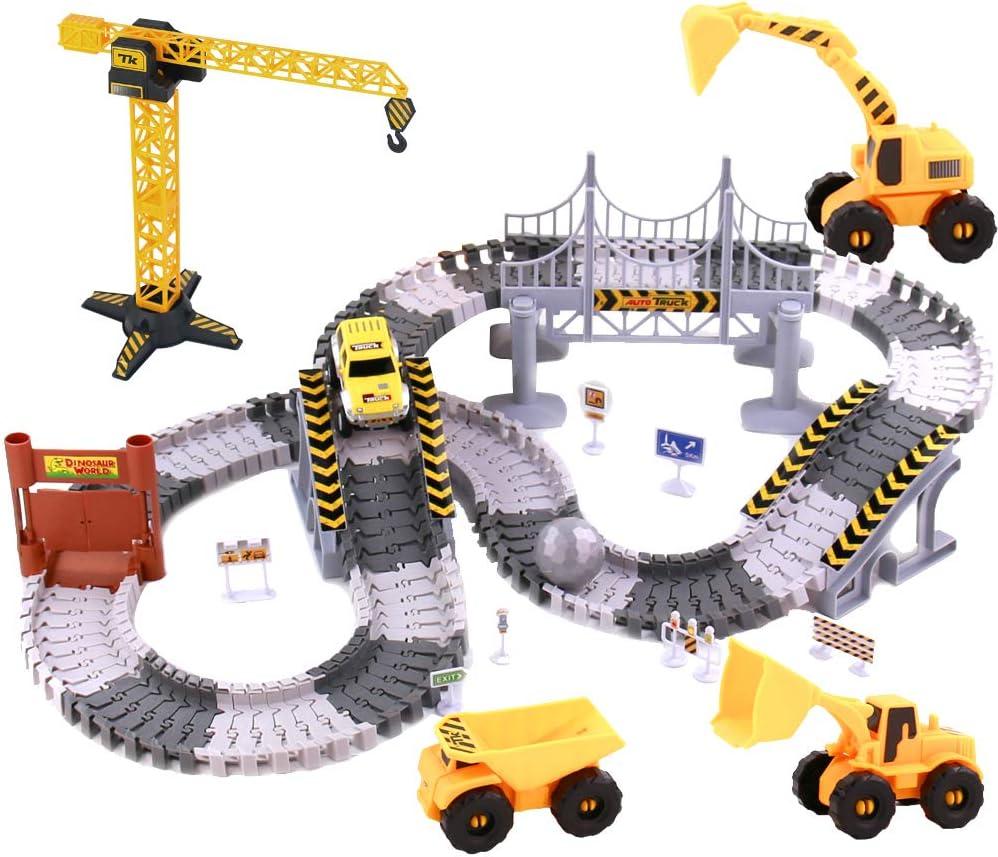 TONZE Pista Circuito de Coches para Niños-Flexible Circuito de Aventuras con Gruas de Juguete Construccion Coches de Juguetes Niños Niñas 3 4 5 6 Años(161 Piezas)