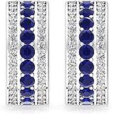 0.65 CT Blue Sapphire SGL Certified Diamond Clip-on Hoop Earring, September Birthstone Anniversary Huggies, Three Row Bridal