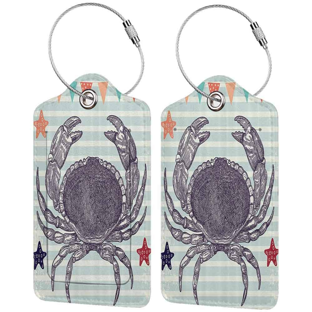 Flexible luggage tag Nautical Crab Striped Stars And Flags Festival Festive Celebration Pattern Fashion match W2.7 x L4.6