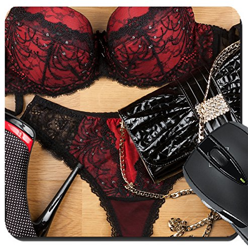 8x8 Inch Mouse Pads/Mat design 32717699 Lingerie shoes and bag lying on the laminate can be as background ()