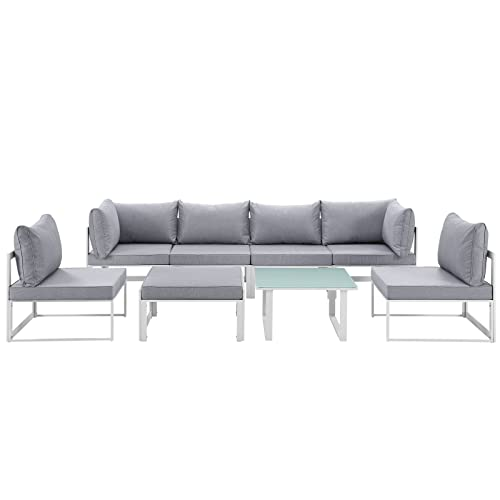 Modway EEI-1728-WHI-GRY-SET Fortuna 8 Piece Outdoor Patio Sectional Sofa Set, White Gray