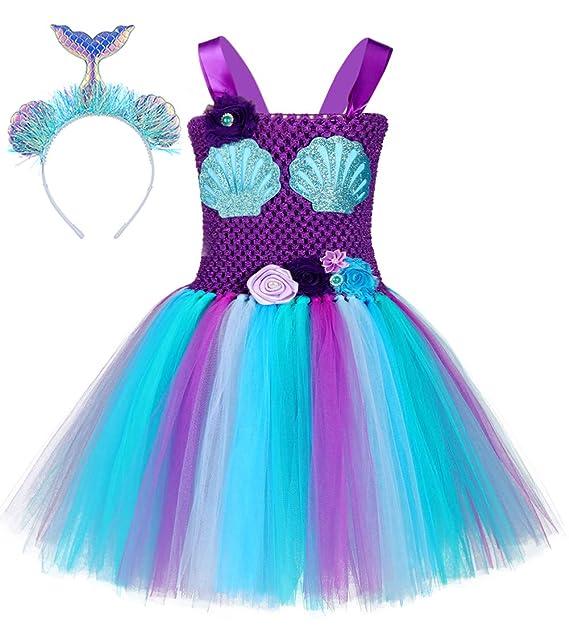 Amazon.com: Disfraz de sirena para niñas de 1 a 12 años ...