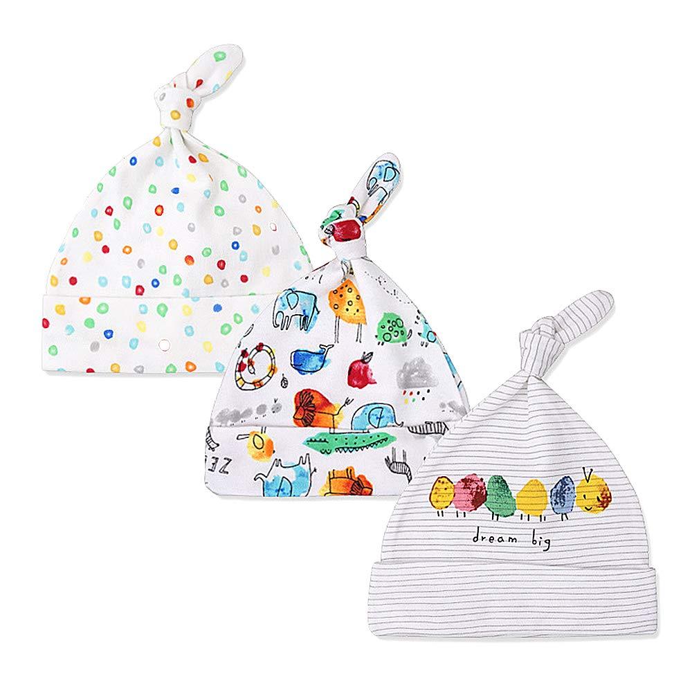 Lacofia Lot de 3 Bonnet de bébé Naissance Chapeau en Coton pour Unisexe Bébé Fille Garçon 0-6 Mois 001