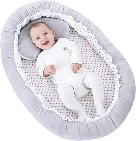 KAKIBLIN Baby Sleeping Pad Suitable for 0-9 Months White Baby Bassinet for Bed Baby Lounger Bed Bassinet for Newborn Baby Portable Crib