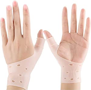 Gel Wrist Brace, Adjustable Braces Elastic Pressure Support Relief Pain from Tenosynovitis, Arthritis, Rheumatism, Carpal Tunnel, Tendonitis, for Right and Left Hands for Men and Women One Pair Beige
