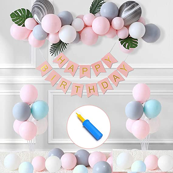 Hanging Swirls,Star-shaped Garland and the Happy Birthday Banner. Birthday Decorations for Women,Party Supplies in Purple,Female 40th 50th 60th Birthday Decorations,Laser Paper Fans,Confetti Balloons