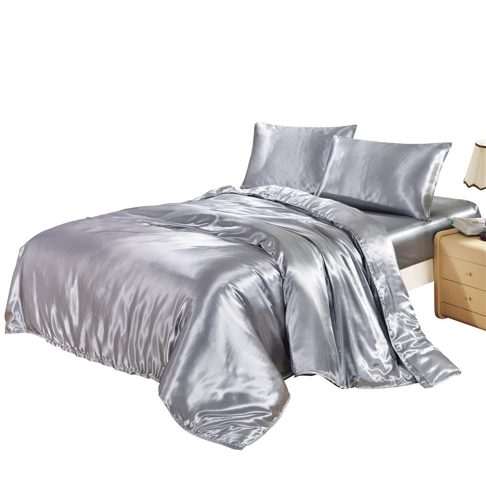 DuShow Silk Like Satin Solid Color Duvet Cover Set/Bedding with Hidden Zipper Ties Soft Reversible Hypoallergenic Stain Resistant Quilt/3 PCS Comforter Cover Set(Twin,Gray)