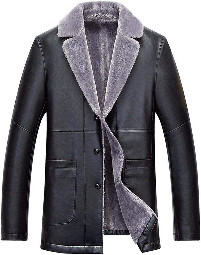 NIEYA Cappotto Invernale da Uomo in Pelle con Collo Alto in