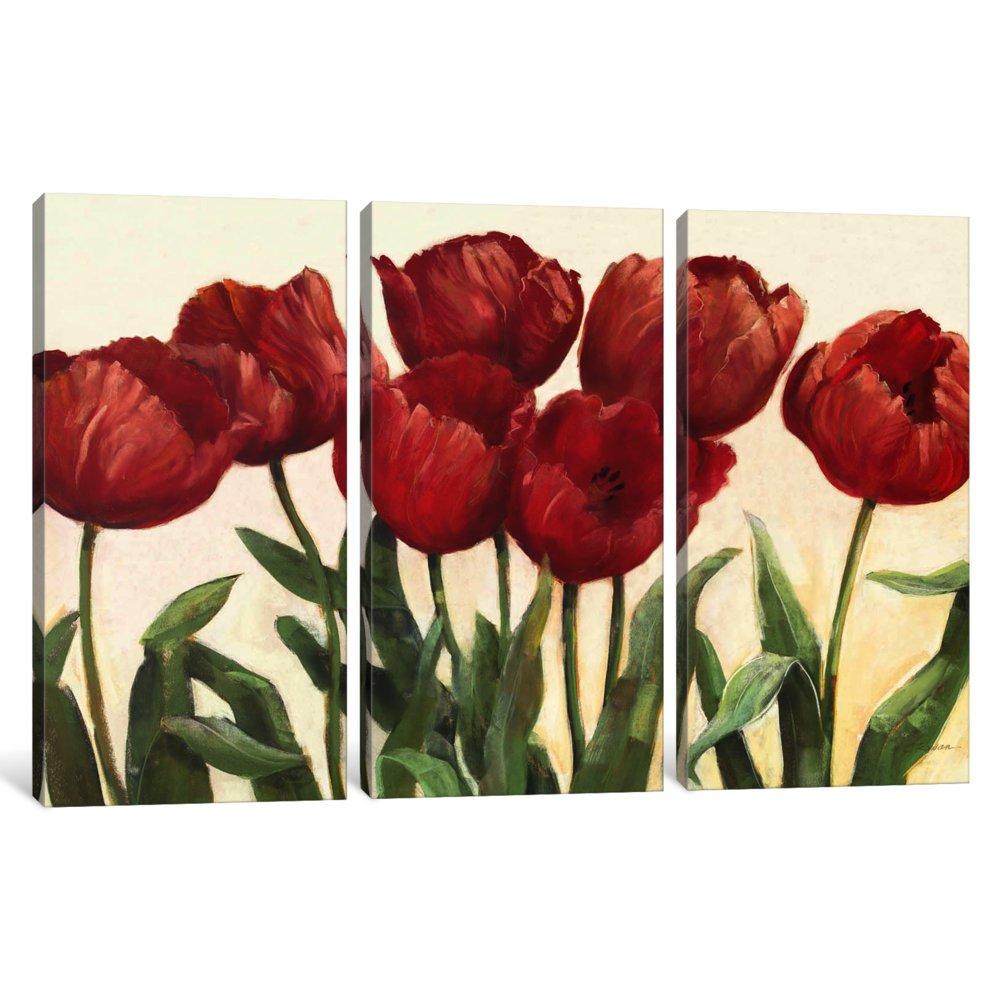 iCanvasART 3 Piece Ruby Tulips Canvas Print by Carol Rowan 40 x 60 x 1.5-Inch