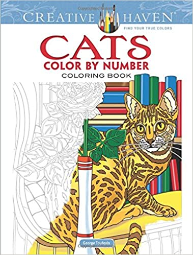 Amazon Com Creative Haven Cats Color By Number Coloring Book Adult