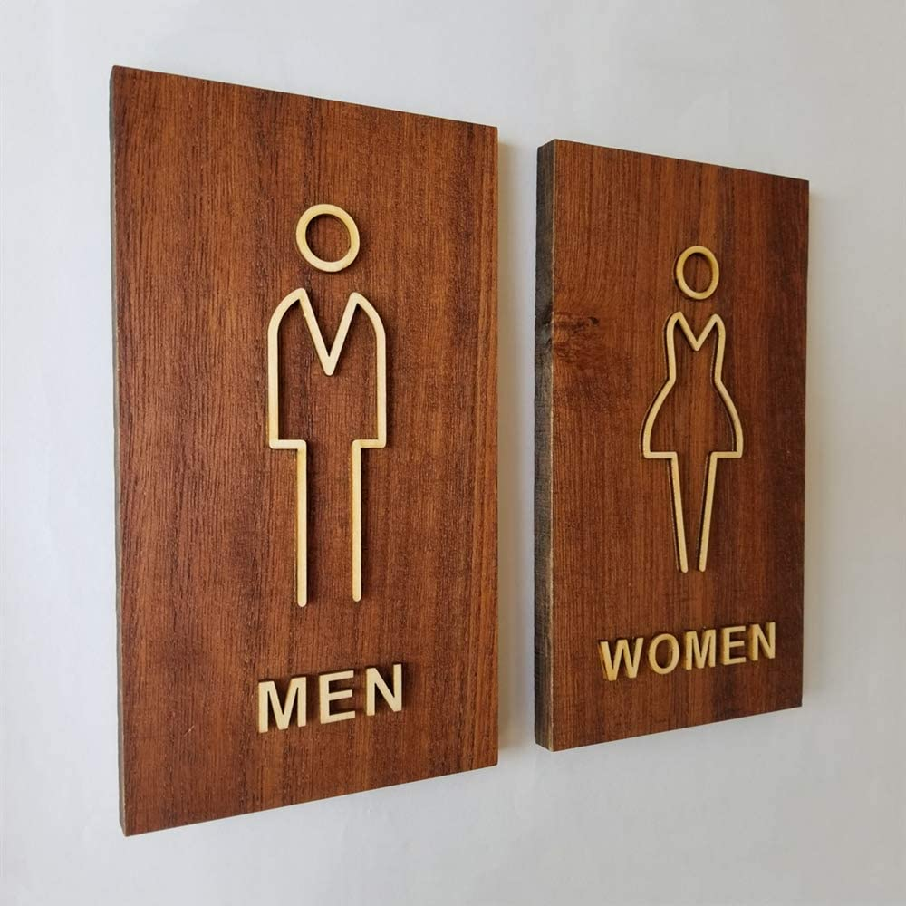 "Runningfish Antique Thicken Minimalist Wood Toilet Toilet Symbol Bathroom Sign Restroom Signage(Brown,8.3""X4.7"")"