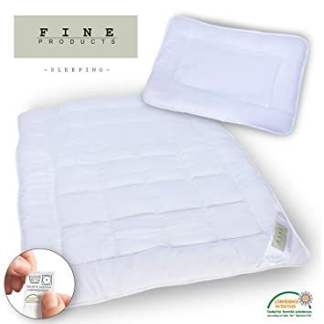 Kinderbett 2 teiliges Betten Set; Kissen 40x60cm Bettdecke 100x135cm Öko-Tex