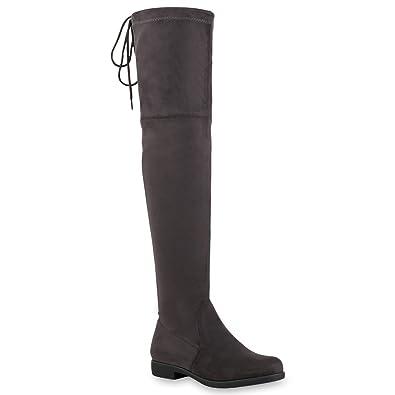 napoli-fashion Gefütterte Damen Schuhe Overknees Metallic Winter Stiefel Leder-Optik Dunkelblau Metallic 37 Jennika BtN8as