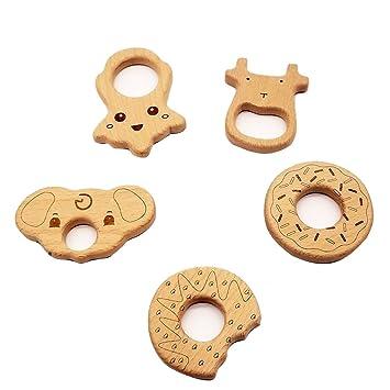 Natürlich Holz Tier Schnuller Clip Baby molaren Beißring Schnullerkette DIY