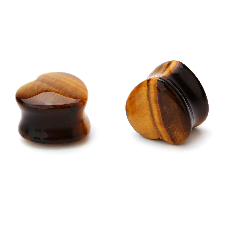 CABBE KALLO 5Pairs Heart Stone Ear Plugs Kit Gauges 2g-20mm Saddle Expander Set Stretchers Piercing Jewelry