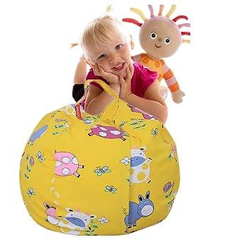 Amazon Com Stuffed Animal Storage Bean Bag Chair Canvas Toy