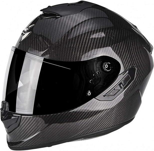 Scorpion EXO-1400 protecci/ón exterior TCT color negro y rojo L Casco integral de fibra de carbono para moto con visera interior SpeedView solar retr/áctil