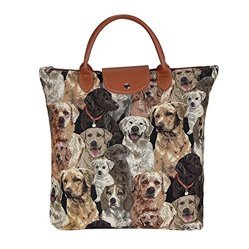 Signare Dog Print Tan Re-usable Tapestry Fold-able Shopping Bag in Labrador design (FDAW-LAB)