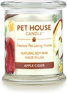 One Fur All 100% Natural Soy Wax Candle, 20 Fragrances - Pet Odor Eliminator, 60-70 Hrs Burn Time, Non-Toxic, Eco-Friendly Reusable Glass Jar Scented Candles – Pet House Candle, Apple Cider