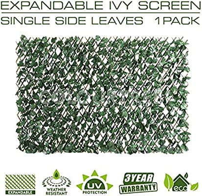 ColourTree Expandable Faux Artificial Ivy Trellis Hedge Fence Screen Privacy Screen Wall Screen - Heavy Duty - 3 Years Warranty (2, Single Sided ...