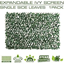 ColourTree Expandable Faux Artificial Ivy Trellis Fence Screen Privacy Screen Wal Screen - Commercial Grade 150 GSM - Heavy Duty - 3 Years Warranty (1, Single Sided Leaves)